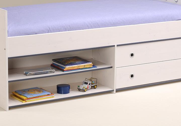 smoozy bett 90x200 kiefer wei blau pink drehbare kanten. Black Bedroom Furniture Sets. Home Design Ideas