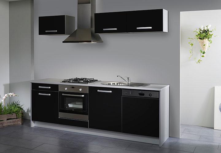 simply single k che schwarz hochglanz grau 245 cm. Black Bedroom Furniture Sets. Home Design Ideas