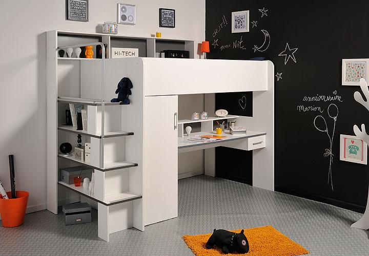 hochbett between schreibtisch schrank wei grau. Black Bedroom Furniture Sets. Home Design Ideas