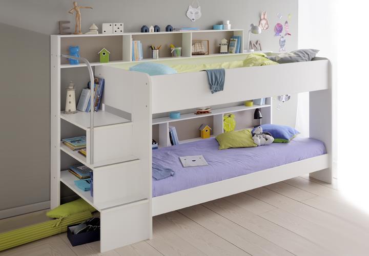 etagenbett bibop in wei dekor mit regalen und stauraum. Black Bedroom Furniture Sets. Home Design Ideas