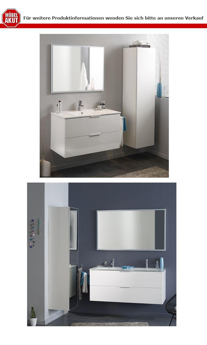 Badm bel set luxy 3 wei hochglanz 2 waschbecken badschrank for Badschrank waschbecken