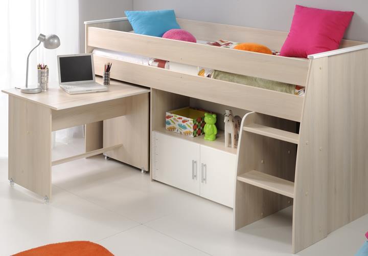 halbhohes bett charly 4 etagenbett akazie wei schreibtisch leiter und kommode ebay. Black Bedroom Furniture Sets. Home Design Ideas