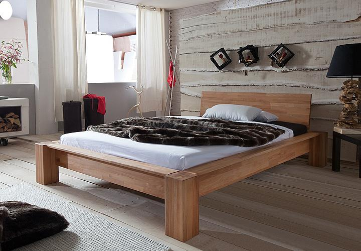 bett lena kernbuche massiv natur ge lt 90x200 cm. Black Bedroom Furniture Sets. Home Design Ideas