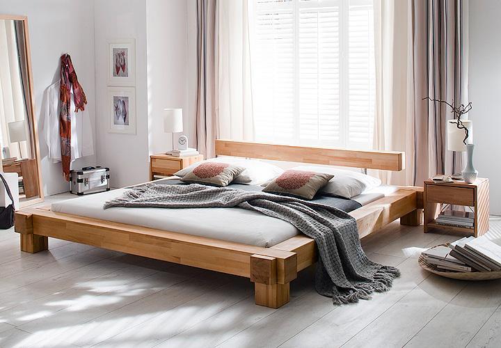 bett victoria kernbuche massiv natur ge lt 180x200 cm. Black Bedroom Furniture Sets. Home Design Ideas