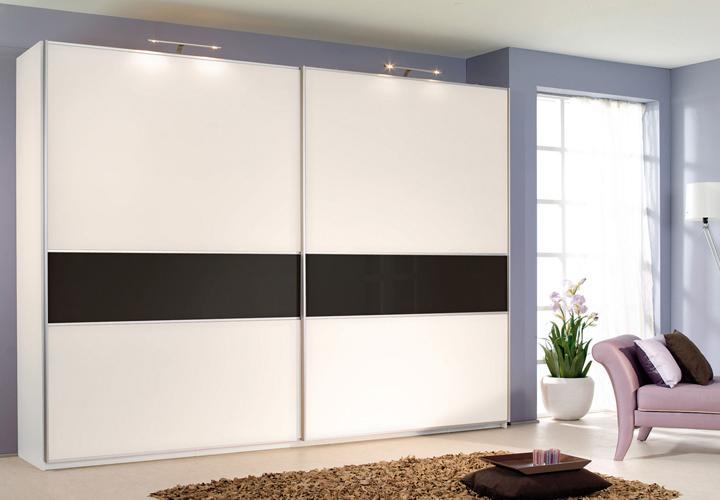 Schwebetürenschrank Savoy weiß Glas schwarz Breite 226 cm