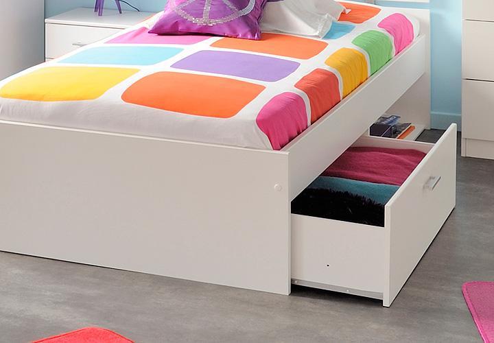 ... 90x200 : Bett INFINITY Kinderbett Stauraumbett in weiß Dekor 90x200