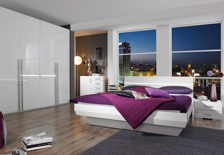 bettanlage tira wei hochglanz bett mit zwei nachtkonsolen. Black Bedroom Furniture Sets. Home Design Ideas