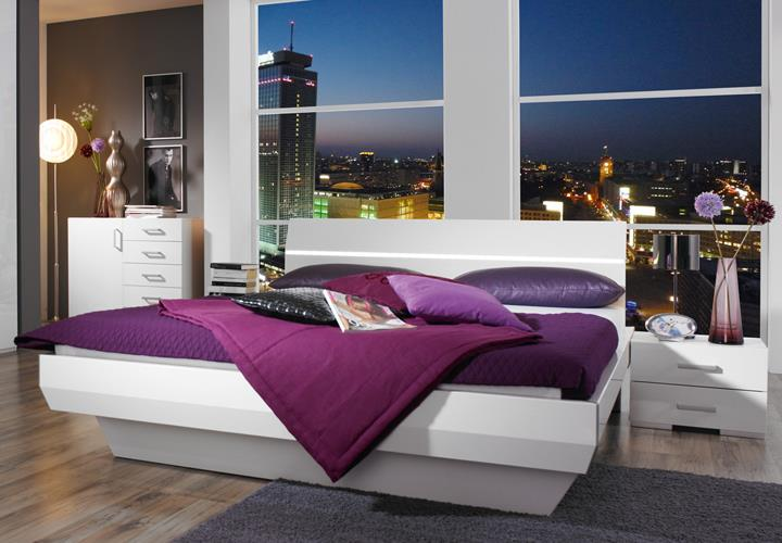 bettanlage tira wei hochglanz doppelbett 180x200 cm. Black Bedroom Furniture Sets. Home Design Ideas