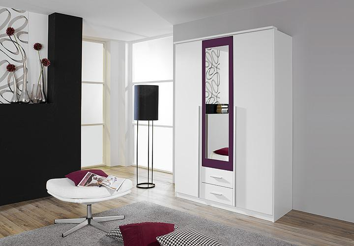 kleiderschrank krefeld wei und lila mit spiegel 136 cm. Black Bedroom Furniture Sets. Home Design Ideas