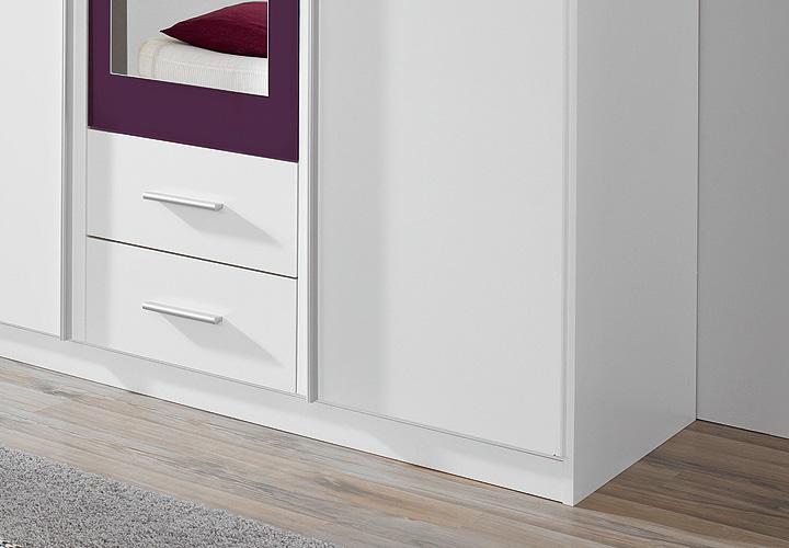 Kleiderschrank KREFELD Weiß und Lila mit Spiegel 136 cm