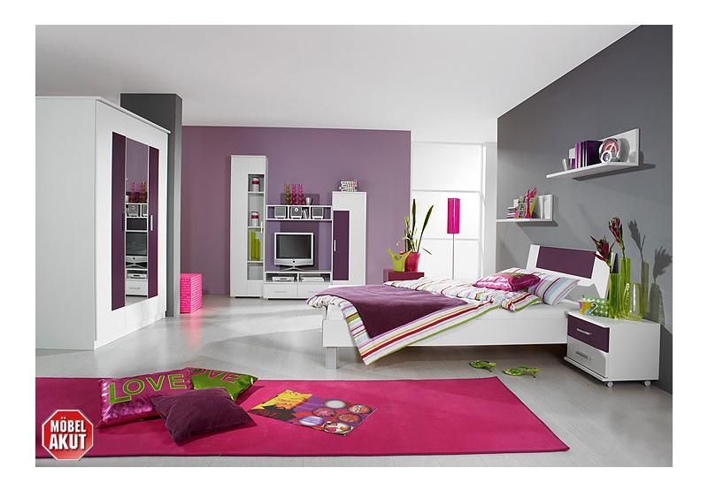 jugendzimmer fortuna kinderzimmer in wei brombeer ebay. Black Bedroom Furniture Sets. Home Design Ideas