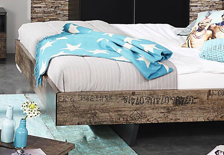 Bett SUMATRA Schwarz Vintage Braun 140 cm