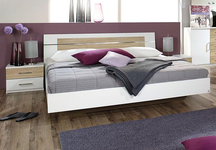 bettanlage burano bett in wei und sonoma eiche 180x200 cm. Black Bedroom Furniture Sets. Home Design Ideas