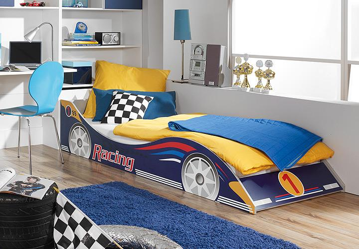kinderbett racing autobett kinderzimmer in blau 90x200 cm. Black Bedroom Furniture Sets. Home Design Ideas