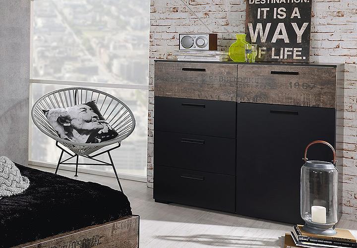 Kommode SUMATRA Sideboard in schwarz und Vintage braun