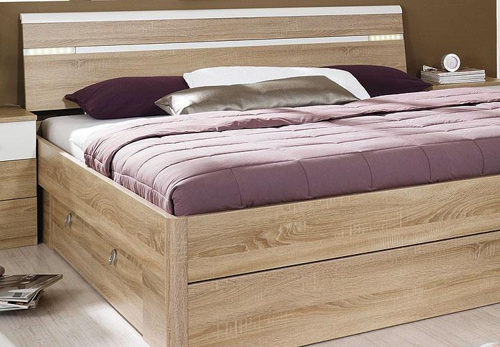 bett rasa sonoma eiche s gerau wei inkl beleuchtung 160. Black Bedroom Furniture Sets. Home Design Ideas
