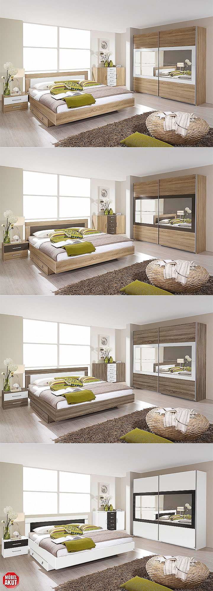 schwebet renschrank venlo sonoma eiche wei spiegel 226. Black Bedroom Furniture Sets. Home Design Ideas