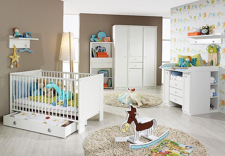 babyzimmer set leni komplett kinderzimmer in wei 9 teilig. Black Bedroom Furniture Sets. Home Design Ideas