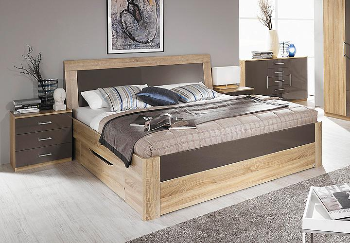 bett arona futonbett in sonoma eiche und lava hochglanz mit schubkasten 180x200 ebay. Black Bedroom Furniture Sets. Home Design Ideas