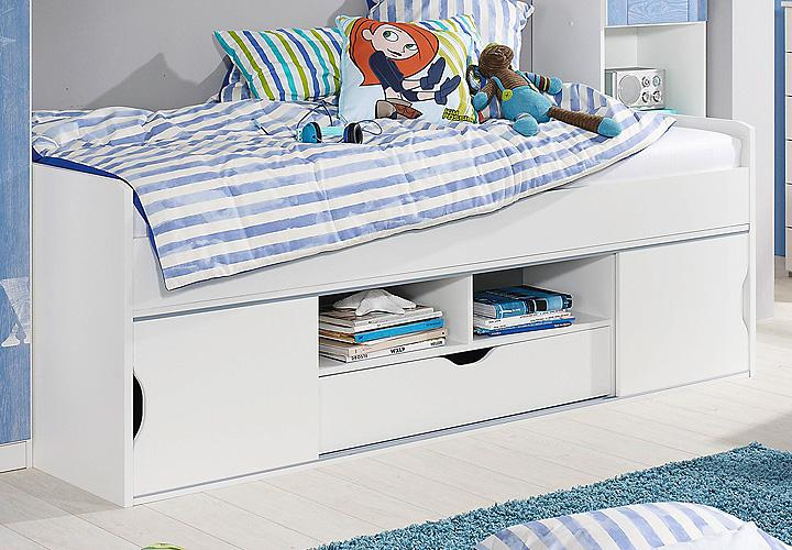 funktionsbett torben bett kinderzimmerbett in wei 90x200. Black Bedroom Furniture Sets. Home Design Ideas