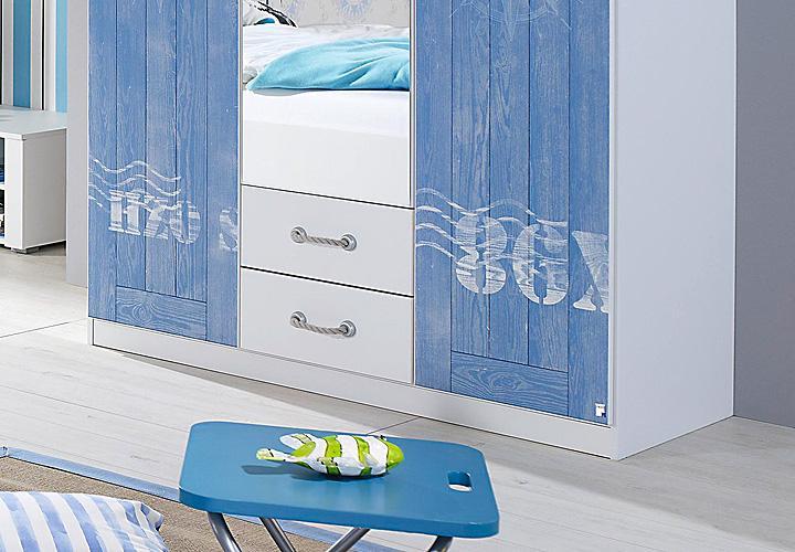jugendzimmerset torben 3 teilig jugendzimmer wei und blau. Black Bedroom Furniture Sets. Home Design Ideas