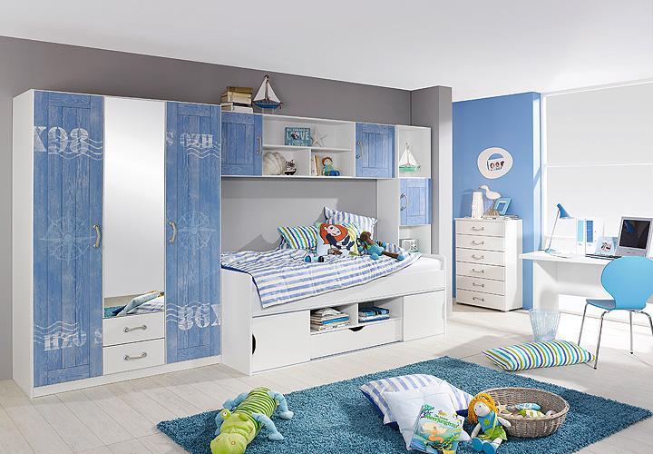 Jugendzimmerset torben 4 teilig jugendzimmer wei und blau for Jugendzimmer blau