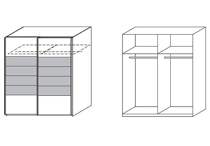 schwebet renschrank barcelona wei grau metallic 181 cm. Black Bedroom Furniture Sets. Home Design Ideas