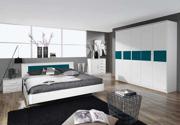 schlafzimmer narbonne bett schrank nako in wei und petrol. Black Bedroom Furniture Sets. Home Design Ideas