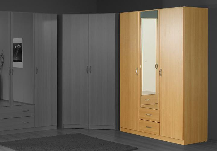 kleiderschrank case schrank dreht renschrank buche hell mit spiegel 136 cm ebay. Black Bedroom Furniture Sets. Home Design Ideas