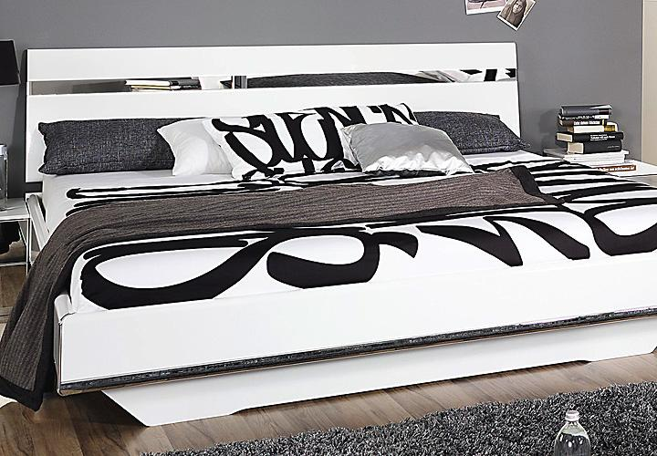 bett denia wei hochglanz chrom spiegel 160x200. Black Bedroom Furniture Sets. Home Design Ideas