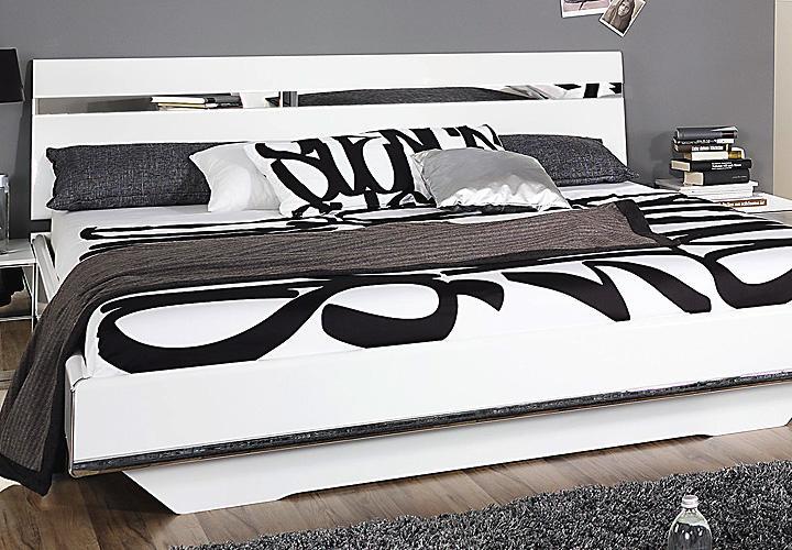 bett denia wei hochglanz chrom spiegel 180x200. Black Bedroom Furniture Sets. Home Design Ideas