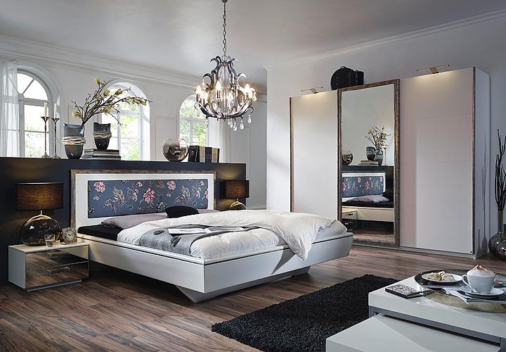 Schlafzimmer TAYA Weiß Grau Antik Silber