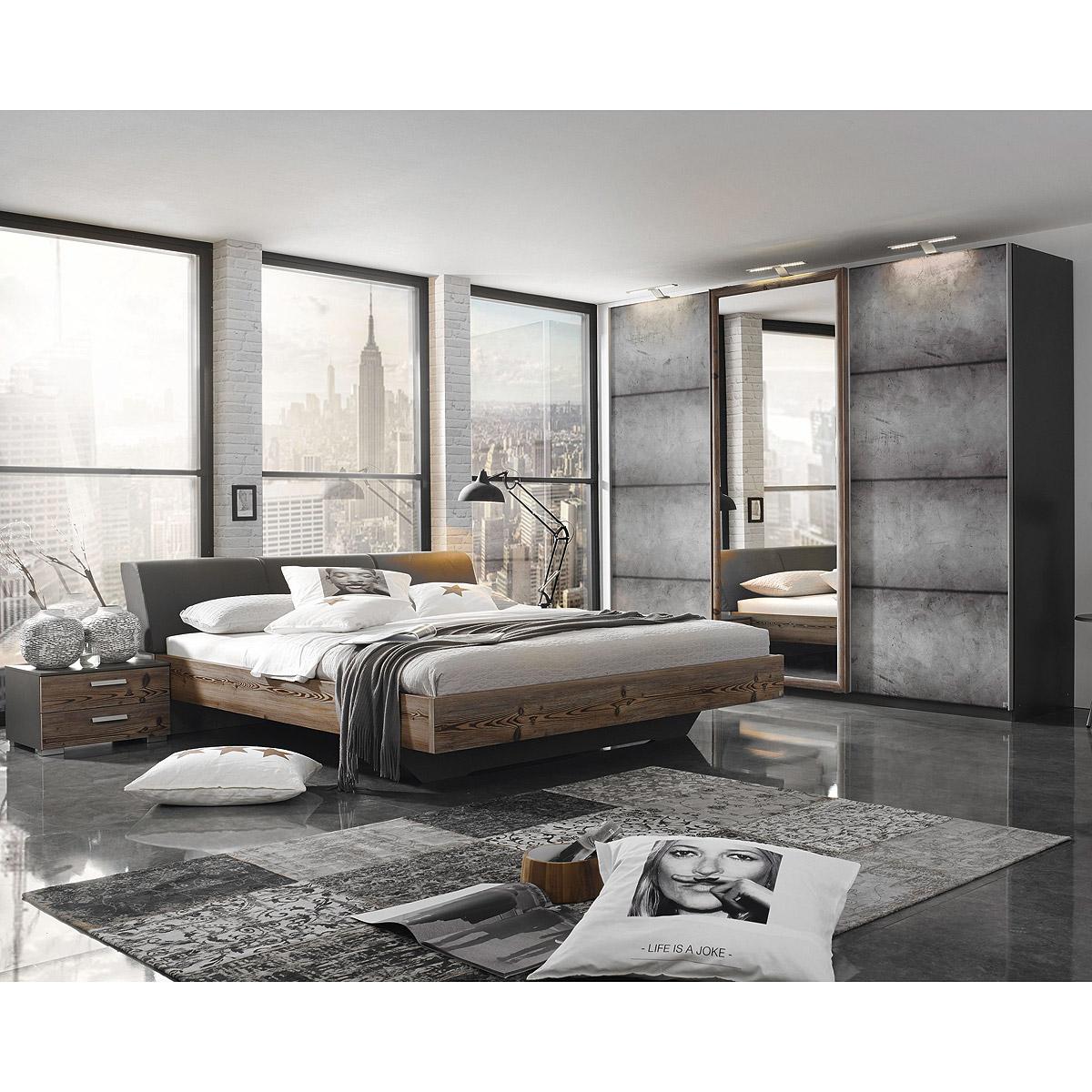Schlafzimmer-Set Streetway Kleiderschrank Bett Nakos Lärche basalt ...