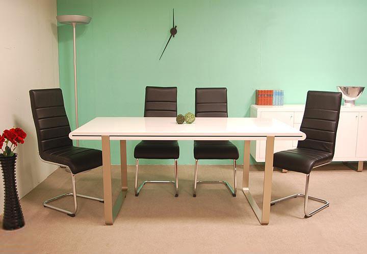 4 freischwinger st hle swing stuhl leder schwarz ebay. Black Bedroom Furniture Sets. Home Design Ideas