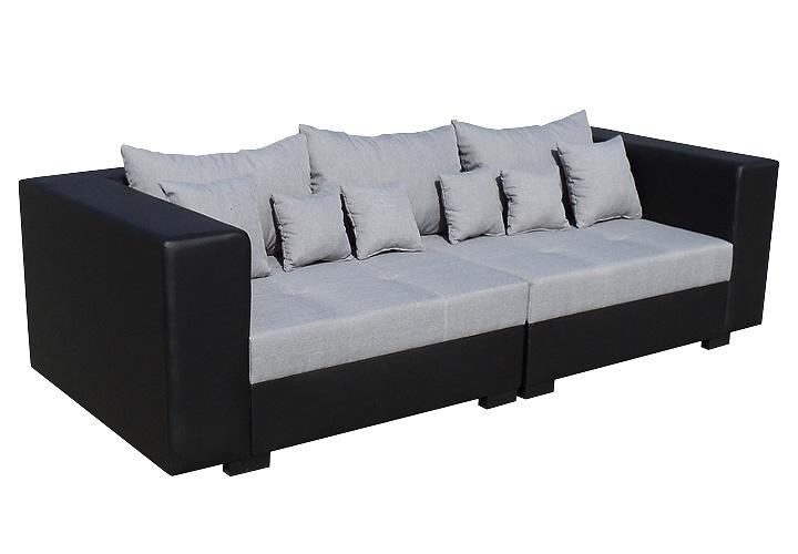 sofa king size schwarz und grau inkl kissen 265 cm. Black Bedroom Furniture Sets. Home Design Ideas