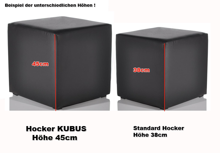 hocker kubus polsterhocker lederlook in schwarz 45 cm hoch ebay. Black Bedroom Furniture Sets. Home Design Ideas