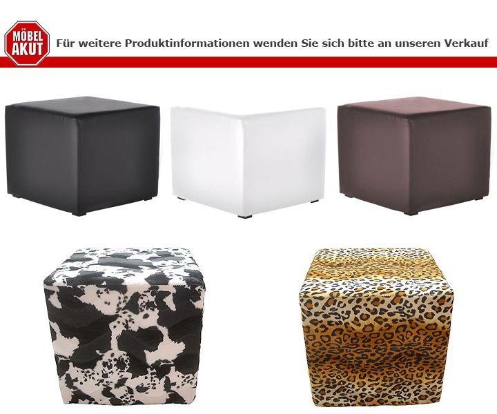 hocker kubus polsterhocker lederlook in schwarz 45 cm hoch ebay. Black Bedroom Furniture Sets. Home Design Ideas