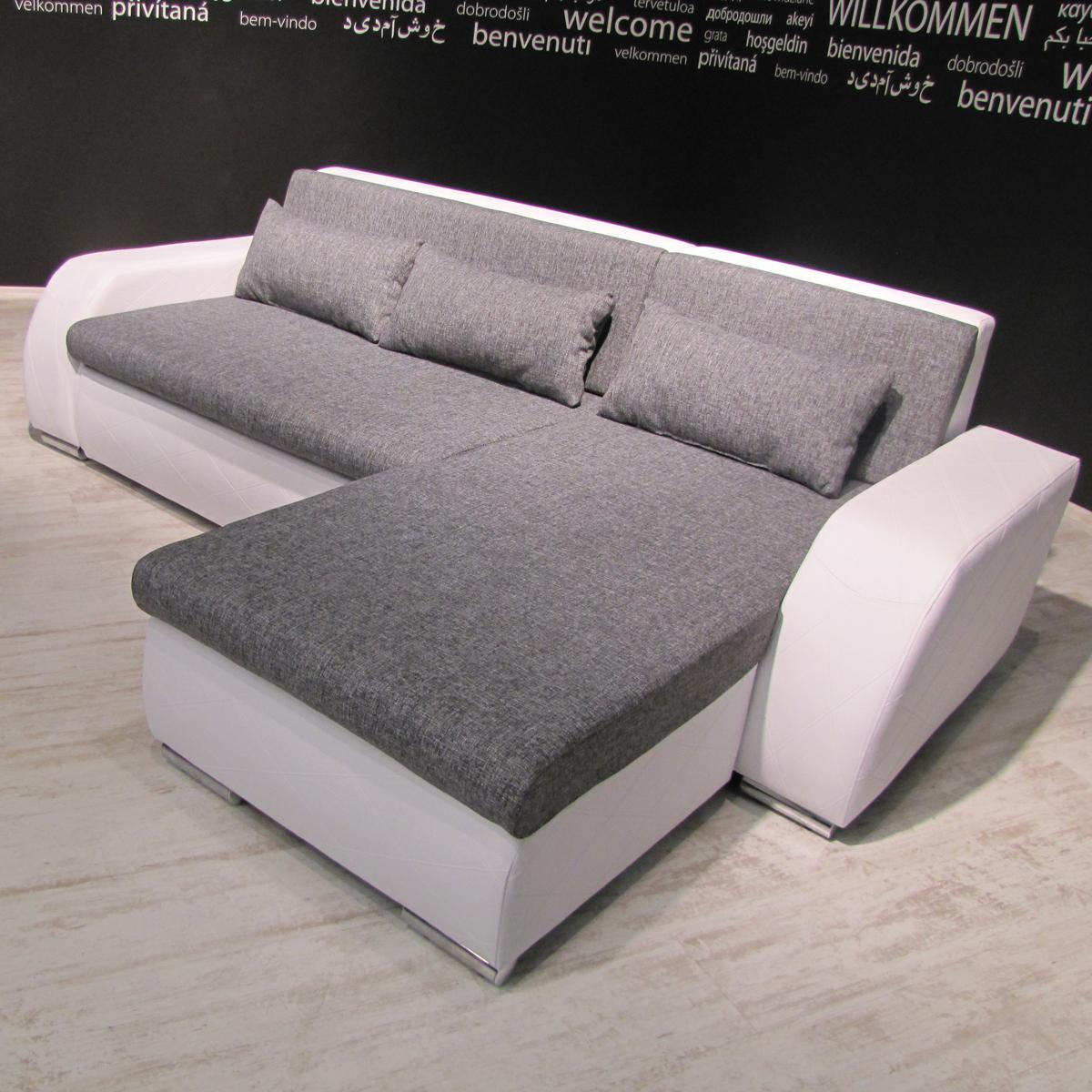 Wunderbar Ecksofa Schlaffunktion Grau Sammlung Von Das Bild Wird Geladen Ecksofa-flensburg-sofa-wohnlandschaft-weiss-webstoff- Grau-schlaffunktion-