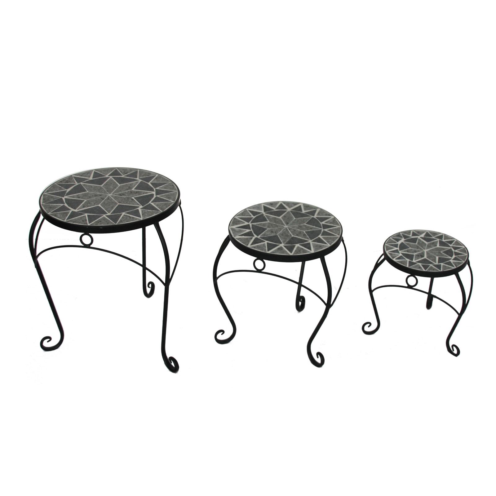 3 Satz Tisch Set Metall Mit Geschwungenen Beinen Und