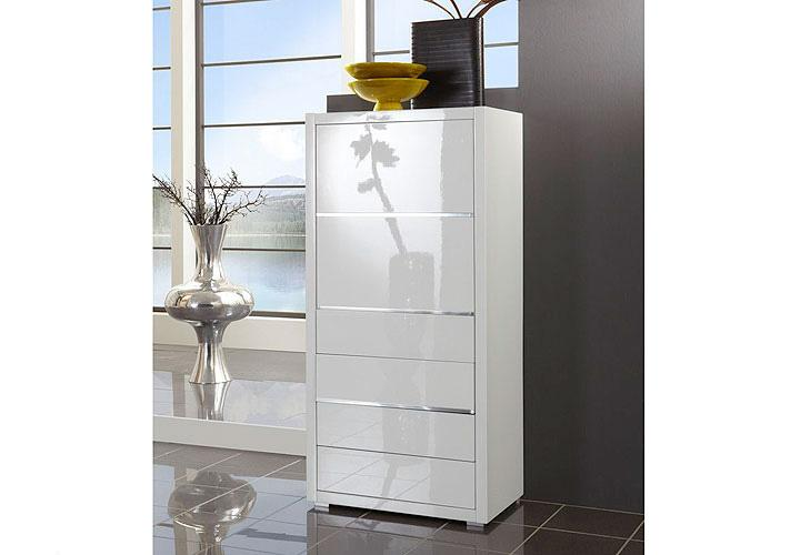 kommode sydney i schrank highboard wei hochglanz lackiert ebay. Black Bedroom Furniture Sets. Home Design Ideas