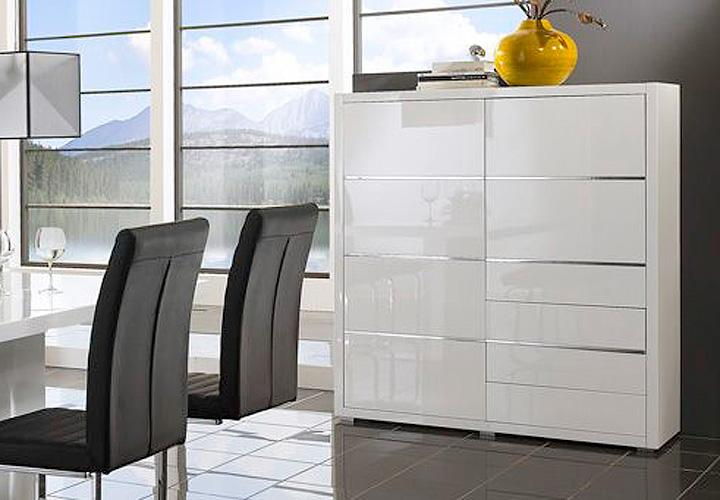 highboard i sydney kommode in wei hochglanz lackiert. Black Bedroom Furniture Sets. Home Design Ideas