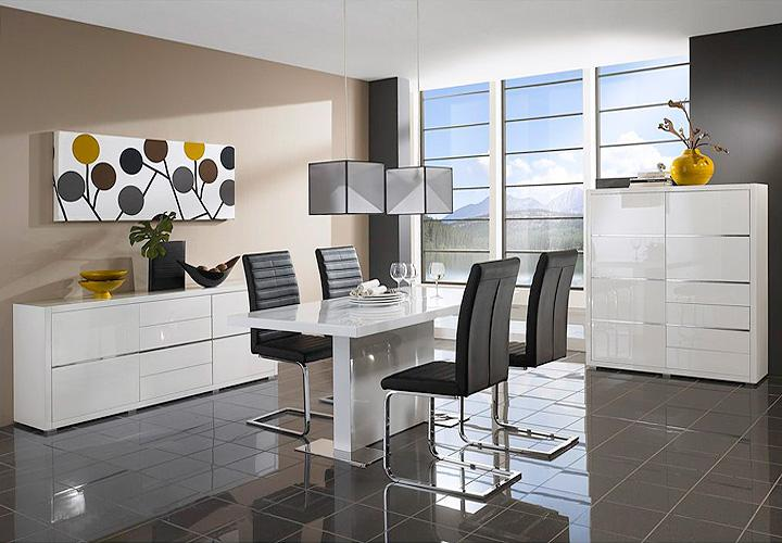 highboard i sydney kommode in wei hochglanz lackiert. Black Bedroom Furniture Sets. Home Design Ideas