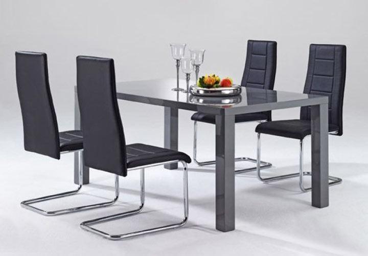 esstisch nando tisch in grau hochglanz b 140 cm ebay. Black Bedroom Furniture Sets. Home Design Ideas