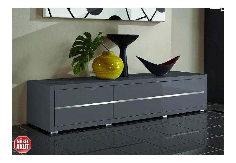 lowboard sydney sideboard in grau hochglanz lackiert ebay. Black Bedroom Furniture Sets. Home Design Ideas
