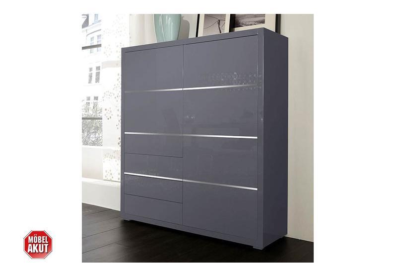 sydney highboard ii grau hochglanz. Black Bedroom Furniture Sets. Home Design Ideas