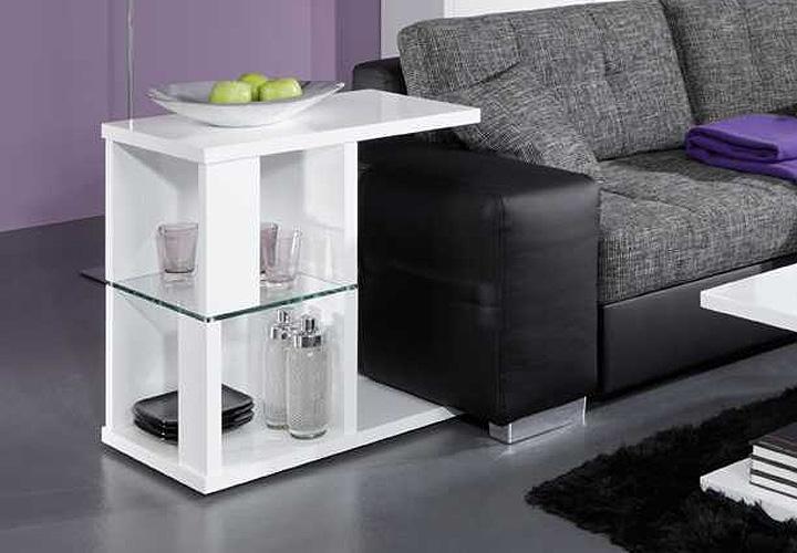 beistelltisch texo wei hochglanz lackiert ung klarglas. Black Bedroom Furniture Sets. Home Design Ideas