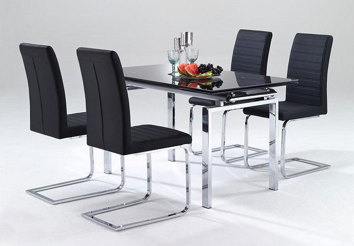 esstisch mistro tisch in schwarz glas chrom ausziehbar b 160 220 cm ebay. Black Bedroom Furniture Sets. Home Design Ideas