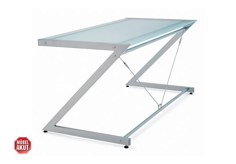 schreibtisch z line tisch b rotisch glas satiniert metall chrom neu ebay. Black Bedroom Furniture Sets. Home Design Ideas