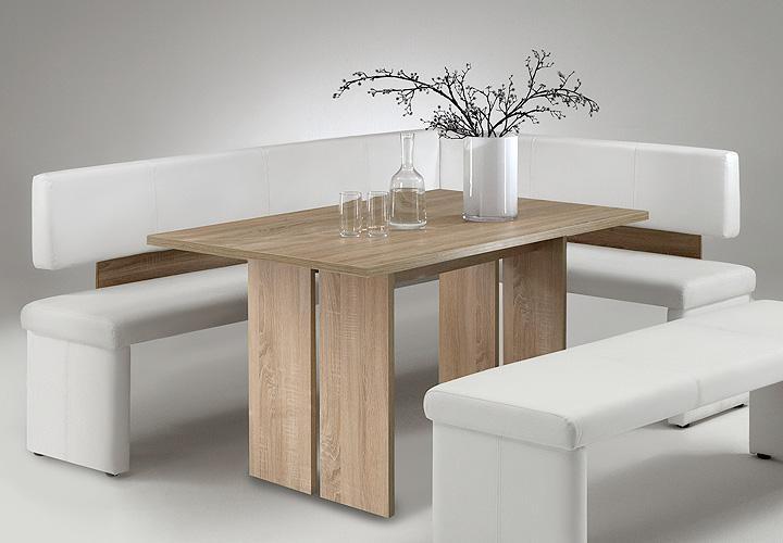 charlotte eckbank 160 links weiss und sonoma eiche s gerau. Black Bedroom Furniture Sets. Home Design Ideas