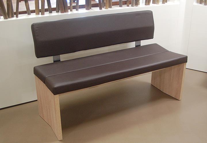 bank 160 woodwork bank sitzbank mit r cken in sonoma eiche s gerau und braun ebay. Black Bedroom Furniture Sets. Home Design Ideas